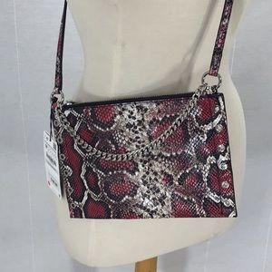 ZARA Printed leather crossbody clutch bag pink NWT